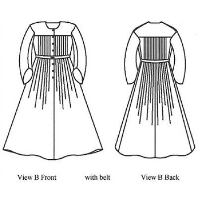 840s—1860 Ladies' Pleated Wrapper, Morning Dress, Work Dress and Maternity Dress