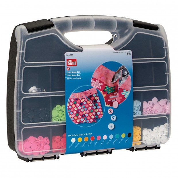 Prym Colour Snaps Round Plastic Press Fasteners Assortment box with tools