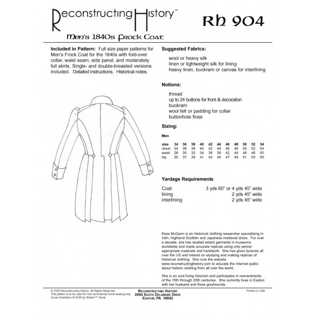 1840s-1860s Double-Breasted Frock Coat