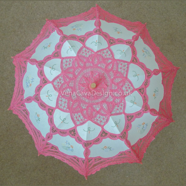 Battenberg Lace Parasols with Embroidery