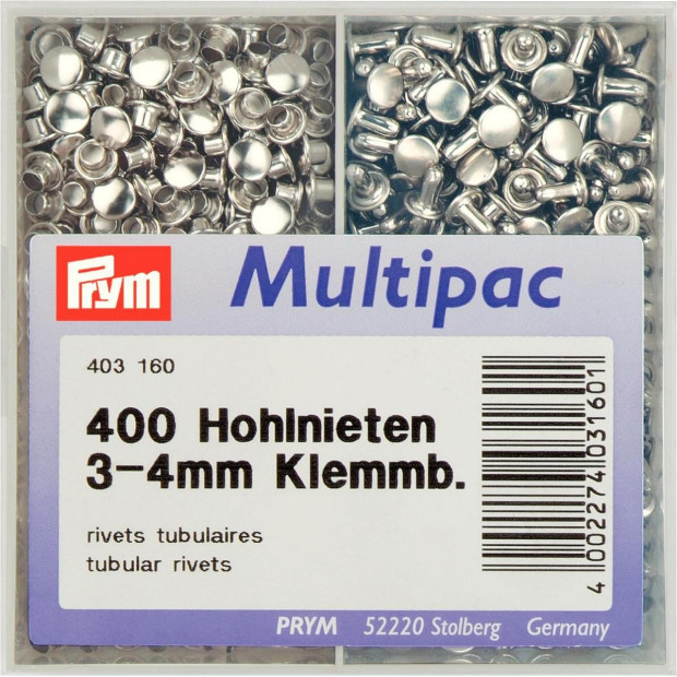 Tubular Rivets -Two Part - Prym brand . Leather etc