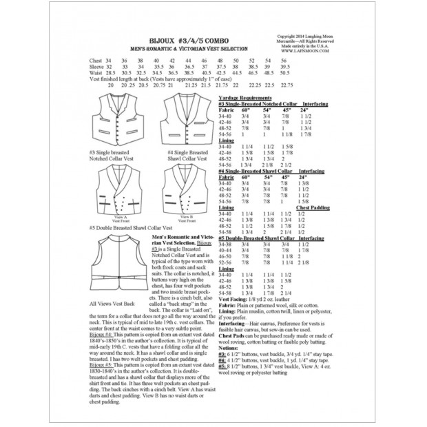 Men's Romantic & Victorian Single & Double Breasted Shawl Collar Vest and Single Breasted Notched Collar Vest Pattern Selection