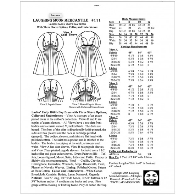 Ladies Early 1860s Day Dress LM111