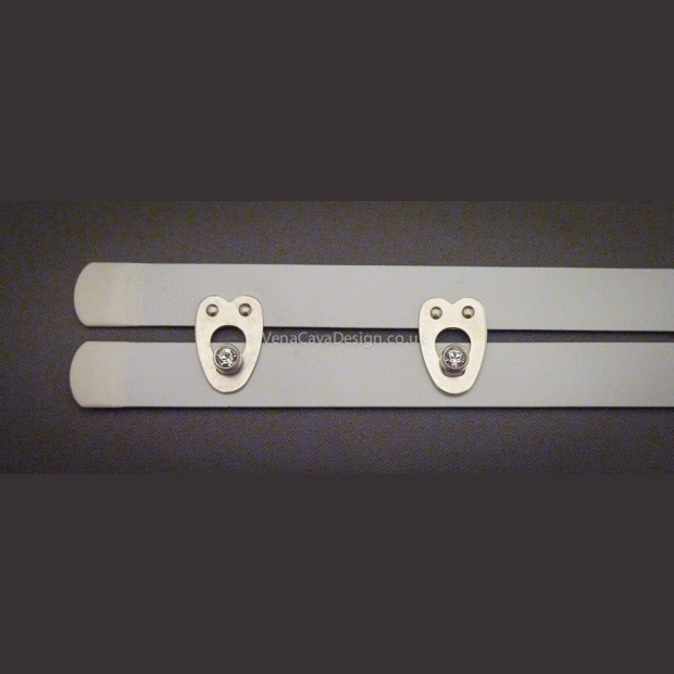 White busks with Swarowski Crystal Clasps Spring Steel,