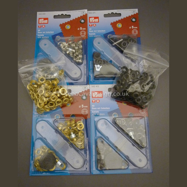 5mm Prym Corsetry Eyelets and Washers, various pack sizes