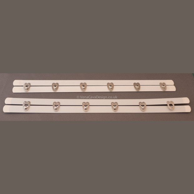 White plastic coated Corset Busks - Evenly spaced clasps