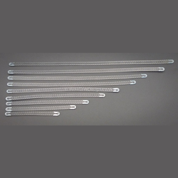 Spiral Wires for Corsetry. 7mm wide with end caps (Standard weight)