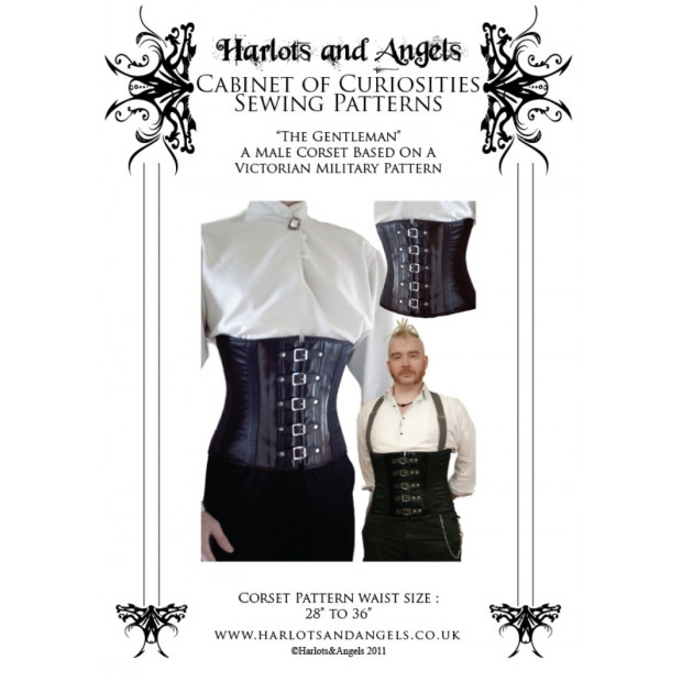 Mens tight lacing steel corset paper pattern. Late Victorian Military style