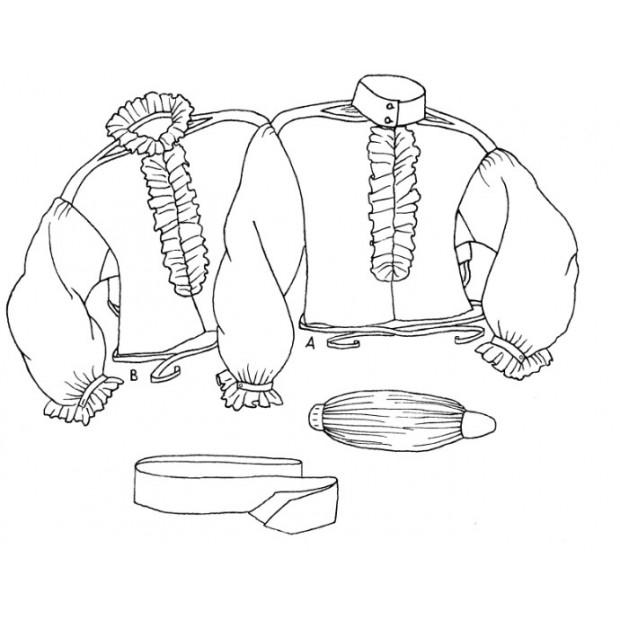 18th Century Riding Habit Shirt with Cravat and Neck Stock