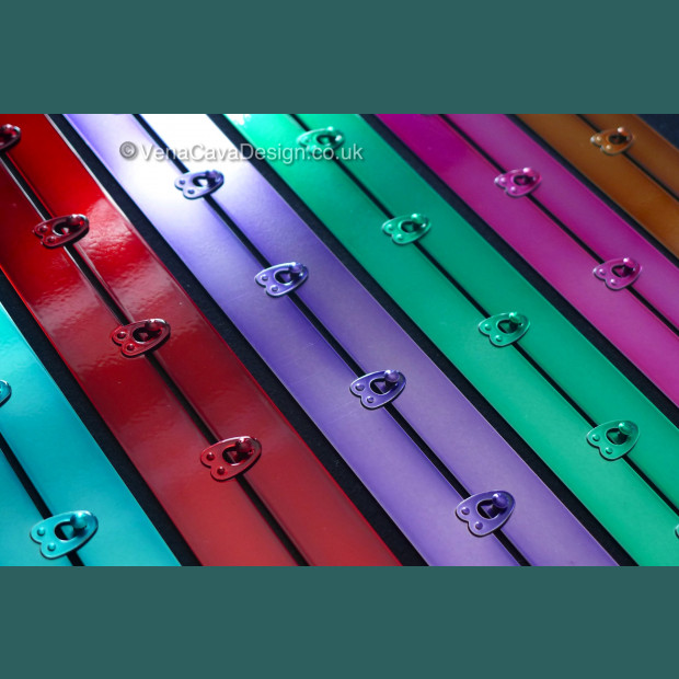 Coloured Busks -Wide Stainless Steel Busks for Corsetry in a variety of glorious colours.