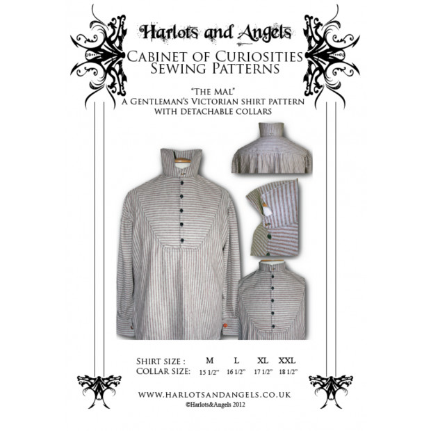 Mens victorian shirt with detachable collar Sewing Pattern - Multisized