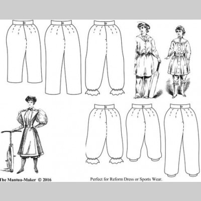 1850 – 1900 Bloomers, Turkish Trousers, or Knickerbockers Pattern