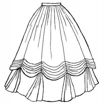 1860s Ball Gown Skirt