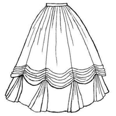 1860s Ball Gown Skirt