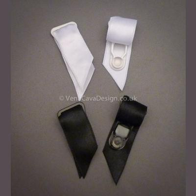 Enameled Suspender Grips with Satin Ribbon