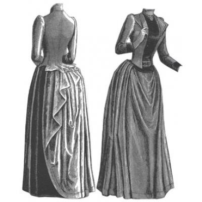 1889 Brown Cloth & Velvet Costume Sewing Pattern