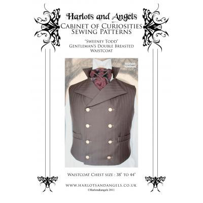 Mens Sweeney Todd Double Breasted waistcoat / vest sewing Pattern