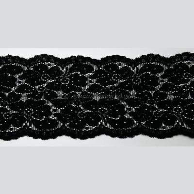 Black Stretch Lace Trim -13cm deep, TO CLEAR