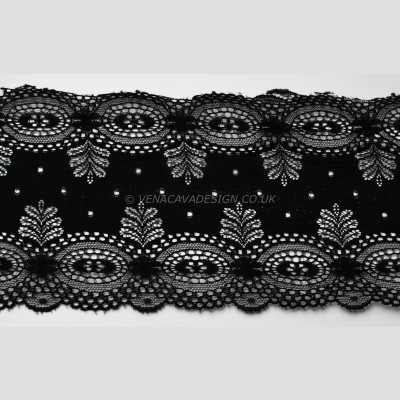 Black Scalloped Lace Trim -14cm deep, TO CLEAR