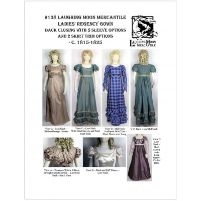 Ladies' Back Closing Regency Gown with three neck options and five sleeve options.