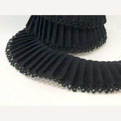 Black Plain Polycotton Pleated Trimming with Lace Edge